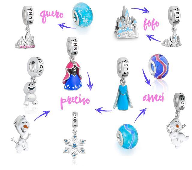 Vivara Charms Pandora Disney Frozen Pulseiras