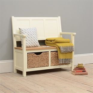 Oxford Painted Monks Bench with Baskets