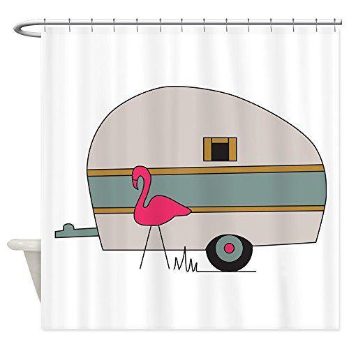 CafePress - Camper Flamingo - Decorative Fabric Shower Cu...