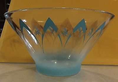 Vintage Glass Anchor Hocking Atomic Turquoise & Gold Chip Bowl Happy Hour Line