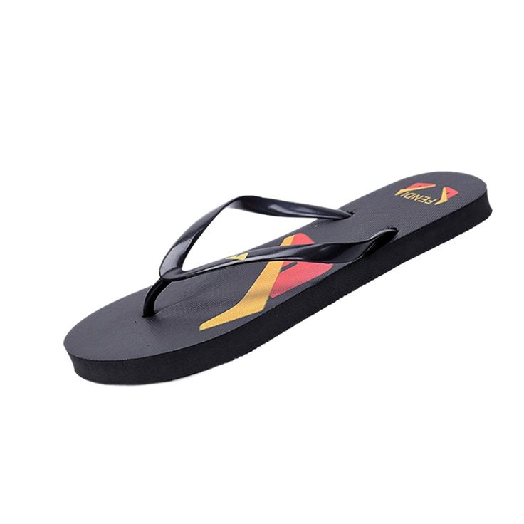 Lerela Women Cartoon Black Flat Flip Flop Outdoor Beach Thong Slippers >>> You can find out more details at the link of the image.