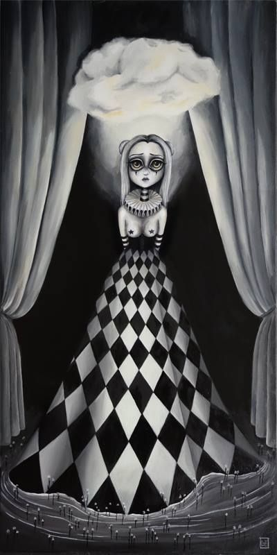 The Light, oil on canvas 80x40 cm by Alessandra Lux #surrealism #lux #blackandwhite #surreal