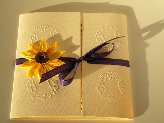 Sunflower wedding invitation / Sunflower and purple by ancamilchis, $2.80