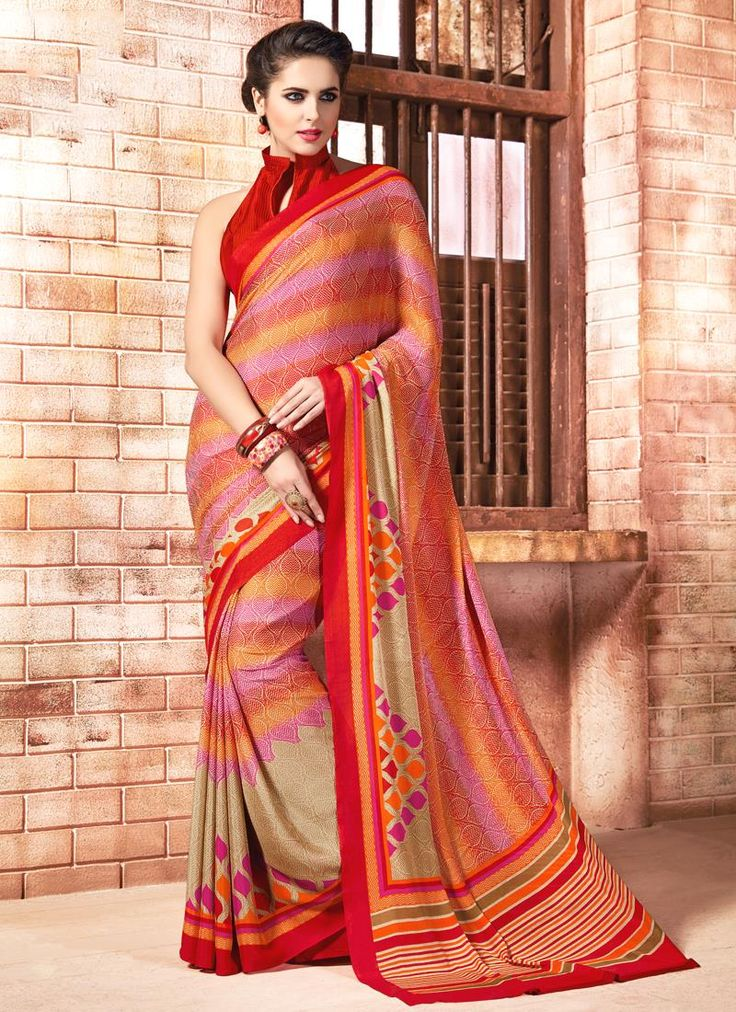 Online saree shopping made easy! Shop this sensational multi colour casual saree for casual and party.