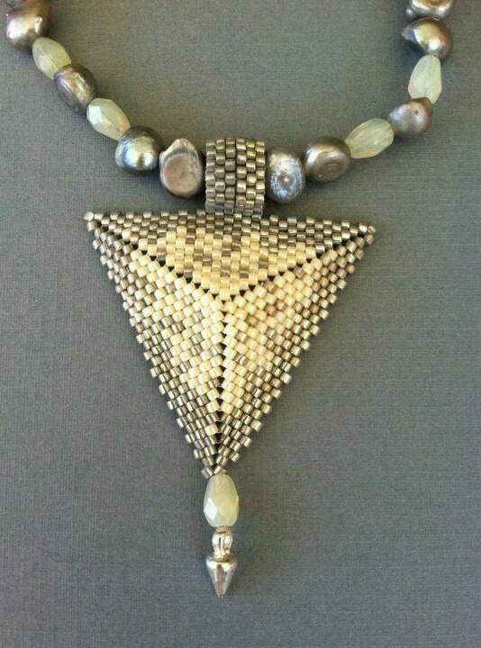 Dreamscape - beaded pendant triangular