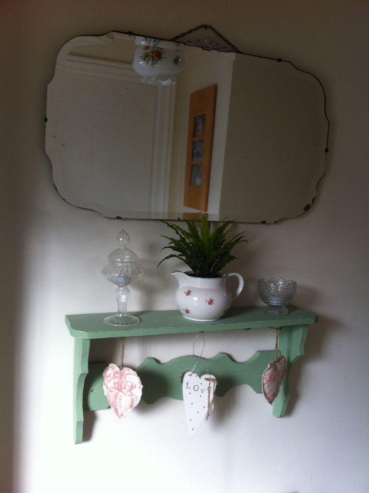 shelf from a French antique stall at Newark, mirror and bits and pieces from local car boot sales