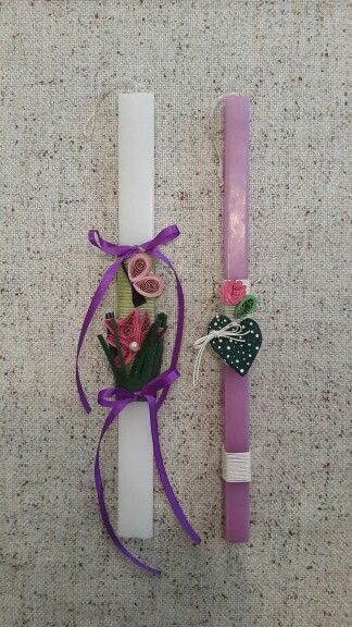 "Handmade easter candles by Glykeria. ""A flower and a butterfly"" / ""Heart"""