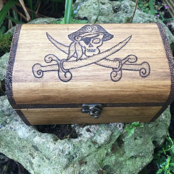Pirate treasure chest for child or anyone. Wooden by Theburnttree