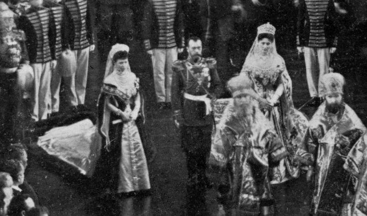 Tsar Nicholas II, Dowager Empress Maria Feodorovna and Empress Alexandra Feodorovna at the opening of the State Duma, 1906.
