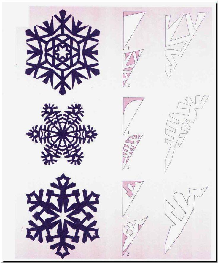 готовая снежинка и схема рисунка для ее вырезания, вариант 4