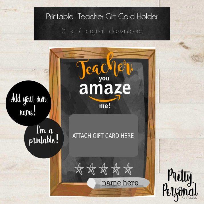 Diy Printable Editable Amazon Teacher Thank You Gift Card Holder Pretty Personal By J Thank You Teacher Gifts Teacher Gift Card Personalized Gift Card Holder