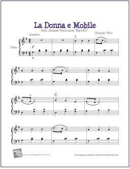 La Donna e Mobile (Verdi) | Free Sheet Music for Easy Piano - http://makingmusicfun.net/htm/f_printit_free_printable_sheet_music/la-donna-e-mobile-piano.htm