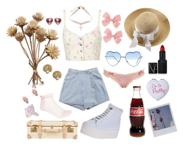 """""""Vintage Nymphet"""" by pastelmuffin ❤ liked on Polyvore featuring River Island, Jeffrey Campbell, Miss Selfridge, Almost Famous, NARS Cosmetics, Helen Kaminski, Globe-Trotter, Judith Ripka, Juicy Couture and Full Tilt"""