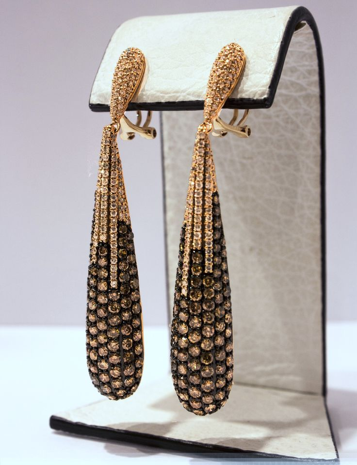 Brown Diamond Drop Earrings in 14kt Rose Gold