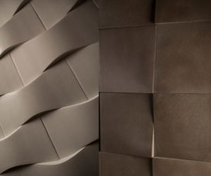 Marilyn and Dune are two new three-dimensional wall tiles from DEX. The tiles are made of Dexterity a lightweight proprietary concrete that contains 38% recycled material by volume. The tiles come in eight standard colors; however they both are available in any color in the DEX palette.