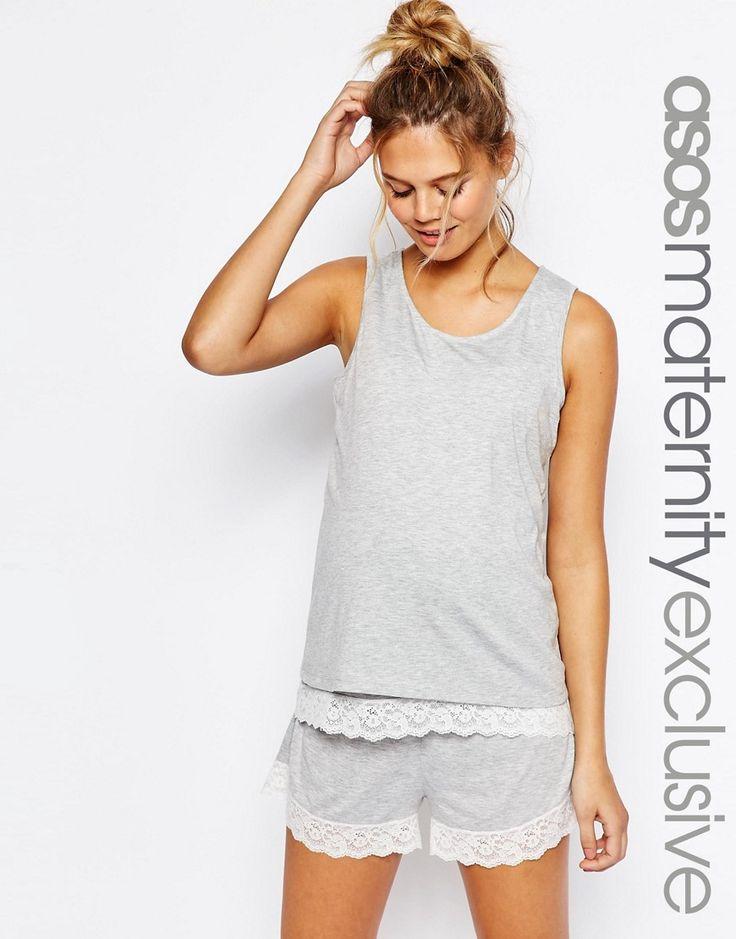 Image 1 of ASOS Maternity NURSING Double Layer Lace Trim Pajama Tank & Short Set