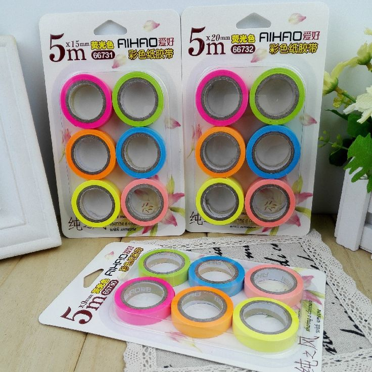 1PCS/LOT Wholesale like fluorescent color tape DIY decorative tape can be manual paper writing paper labels 6 colors