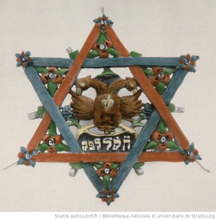 Objet de culte israélite. Bouclier de David pour la conservation du pain azyme dans la synagogue, Alsace, 1909