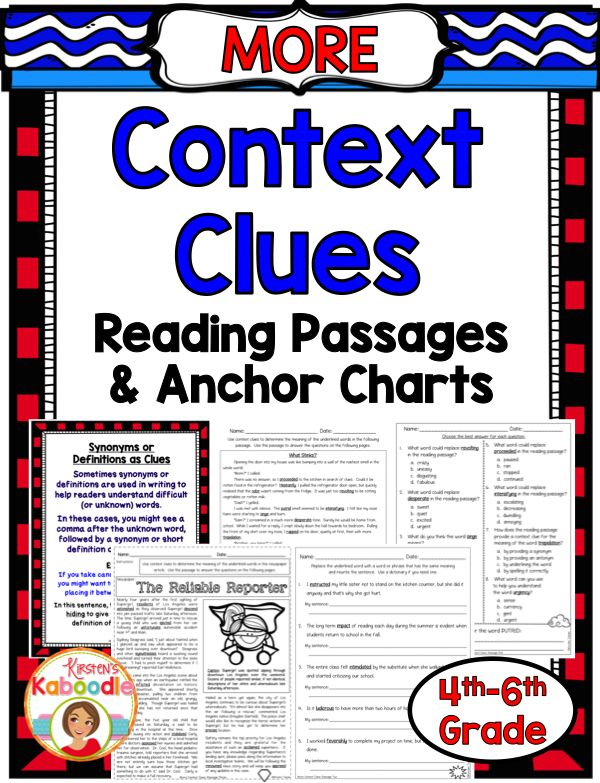 Context Clues Reading Passages And Anchor Charts Vivi - Www