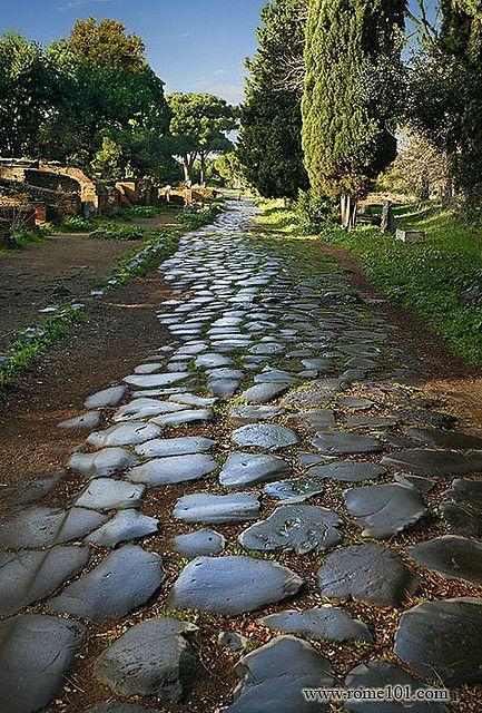 Ostia Antica, paved Roman road, province of Rome Lazio region italy