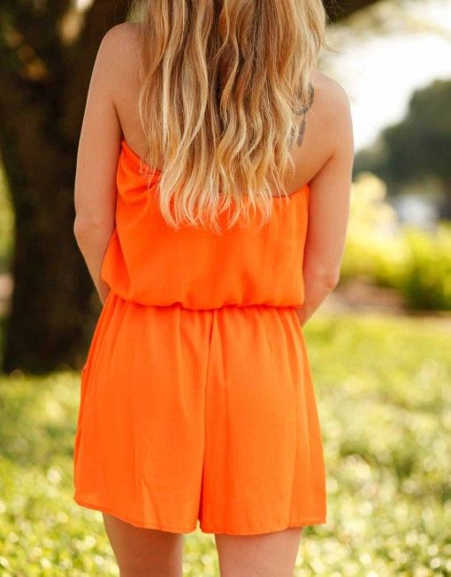 Orange Playsuit - Lotus Boutique  #obsessed #gameday #lotusboutique