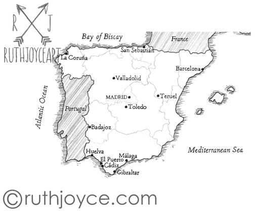 A Literary Commission from Quartet Books  #illustrator #spain #map #bookillustration