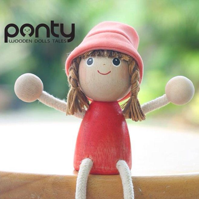 Ponty Girl : PG 01 Lovely hand painted wooden doll By PontyDolls