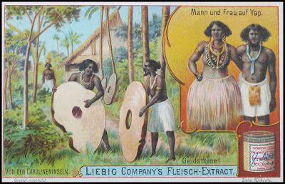 """Numisarchives. Primitive money: """"Monedas"""" de piedra de la isla de Yap, representadas en una antigua tarjeta de propaganda comercial alemana."""