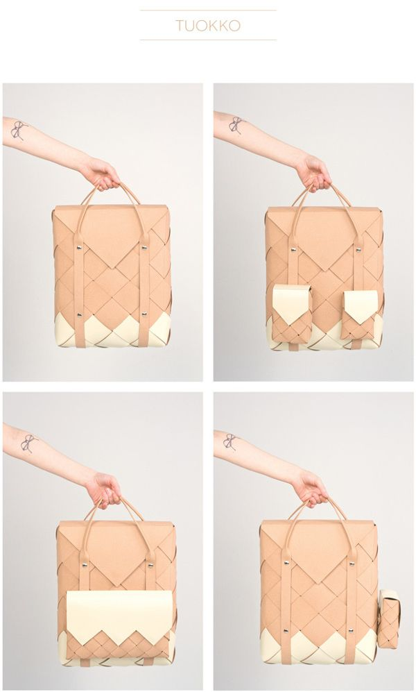 """As my final thesis in BA of design, I studied the technique of birch bark weaving and designed and made a backpack with attachable pockets. Material used is recycled leather.   The pockets also function as additional accessories and are sized by modern everyday objects like a smartphone and a tablet. Easy and durable closure is created by using magnets and snap fasteners."""