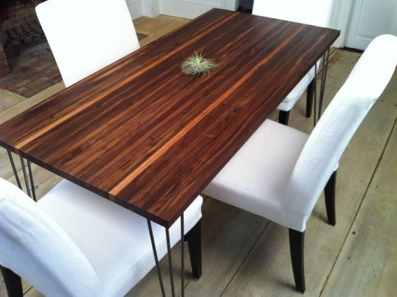 Walnut Dining Table Mid Century Modern Inspired Featuring Hairpin Impressive Walnut Dining Room Sets Design Decoration