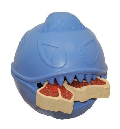 Jolly Pets Monster Rubber Ball Bounces Hide Treats Dog Toy 3.5 in Blue