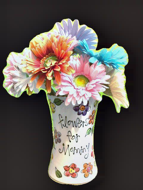 Pic of DIY Fingerprint Flower Vase Craft