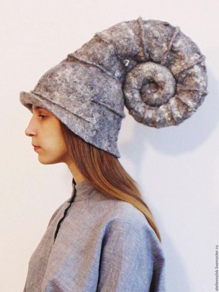 Crazy and ambitioous! Hand felted hat | Купить Шапка-аммонит - коричневый, арт, арт-объект, артефакт, берет, арт-берет