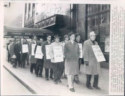 November 28, 1953:  400 photo engravers employed by New York City newspapers go on strike over wages and improved working conditions.  20,000 other newspaper workers represented by other unions refused to cross the photo engravers' picket lines.  The strike ended eleven days later with the workers receiving a 3 dollars/week wage increase.
