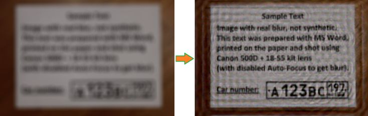 Restoration of defocused and blurred images. Yuzhikov.com