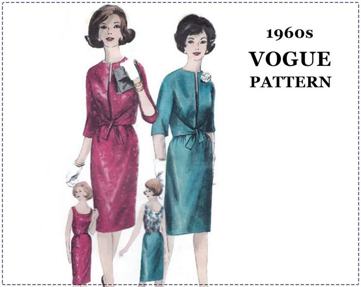 1960s Special Occasion Dress Pattern - Vogue Young Fashionables 5324 - One Piece Dress, Jacket - Size 14 Bust 34 - Slim Skirt, Camisole by EightMileVintageSews on Etsy