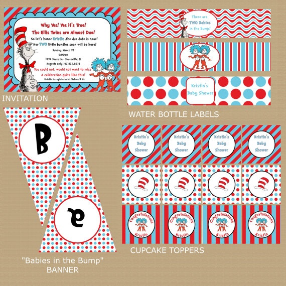 Thing 1 Thing 2 Dr Seuss TWIN Baby Shower By GeminiCelebrations, $32.00
