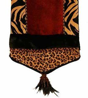TABLE RUNNERS By Reilly Chance Collection: This Red And Animal Print  Chenille Home Decor