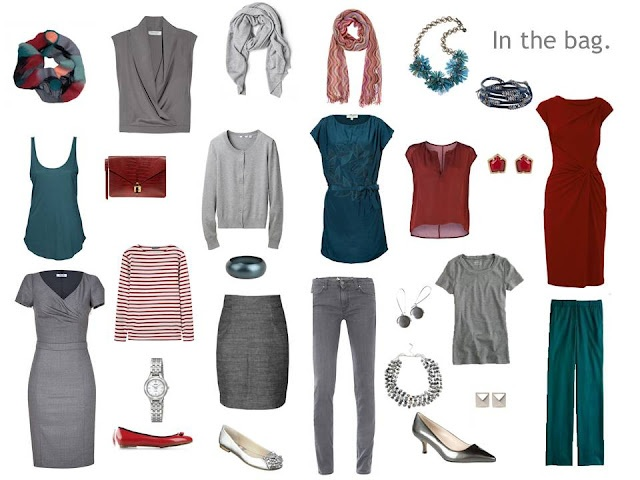 Grey, teal and merlot wardrobe/packing inspiration | via Vivienne Files. Includes outfit ideas. SO wonderful.