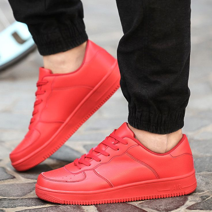 「red sneakers outfits men」の画像検索結果