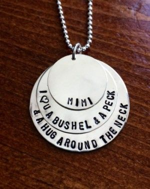Mom or GrandmothersI love you a bushel and a peck layered circle necklace    Order by Monday, May 8 for FREE delivery before Mother's Day    Order by Thursday, May 11 @ noon select overnight delivery for Mother's Day