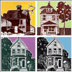 Facade Houses Lesson Plan.... Definitely using this one and having them make their own house... prints could be hung next to one another and turned into a neighborhood!