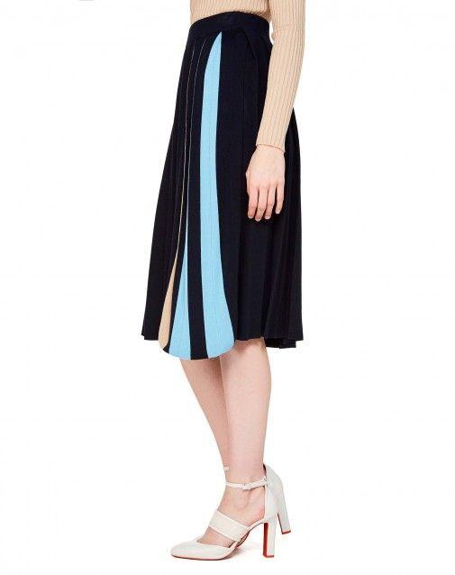 Jupe plissée en mailles Bleu Foncé - Femme | Benetton