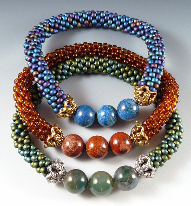 Bead crochet bracelets;  No tutorial/schema - I just wanted to see an idea of what to do with gemstone beads I have on hand.  Very pretty.