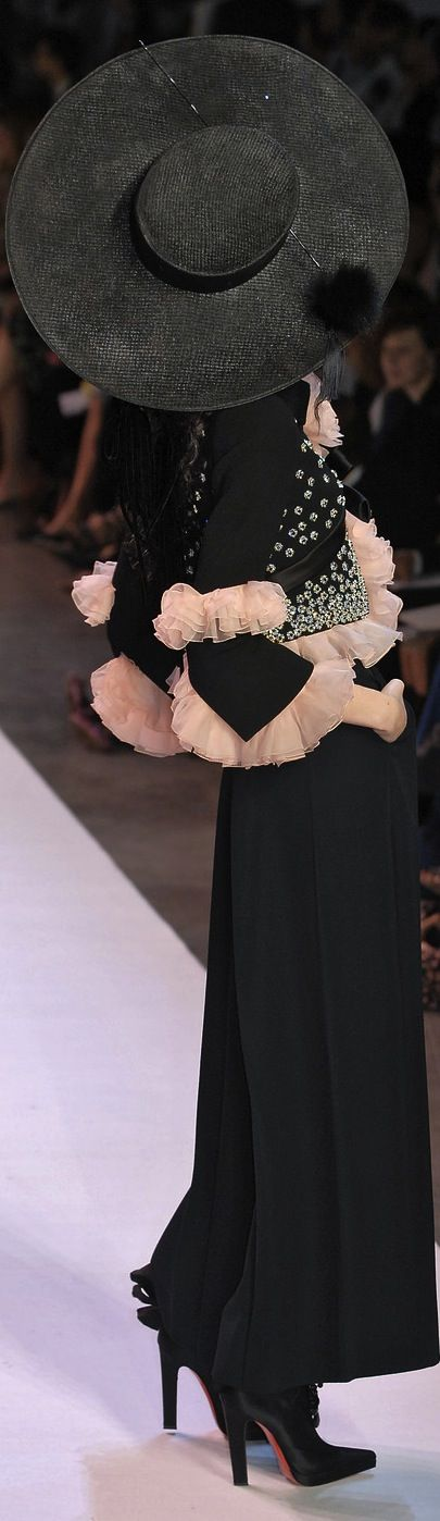 Christian Lacroix ~ Couture Fall Black Jacket w Peach Tulle Ruffle Detail on Sleeves + Black Wide Leg Pant 2007