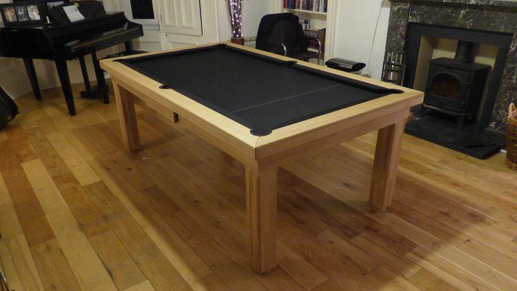 6ft English Modern Pool Table, Oak Wood #0 Matt, Hainsworth Smart Black cloth.