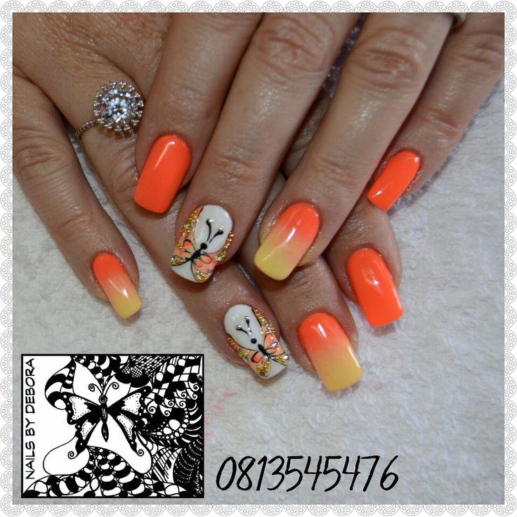 #butterflyHandpaintedArt #orangeOmbreNail