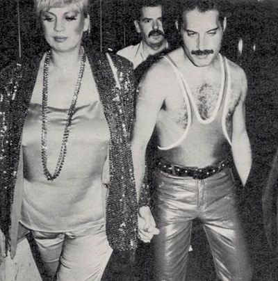 Freddie with Barbara Valentin at Freddie's 38th Birthday party at Xenon Club in Piccadily, London on 5th September 1984.