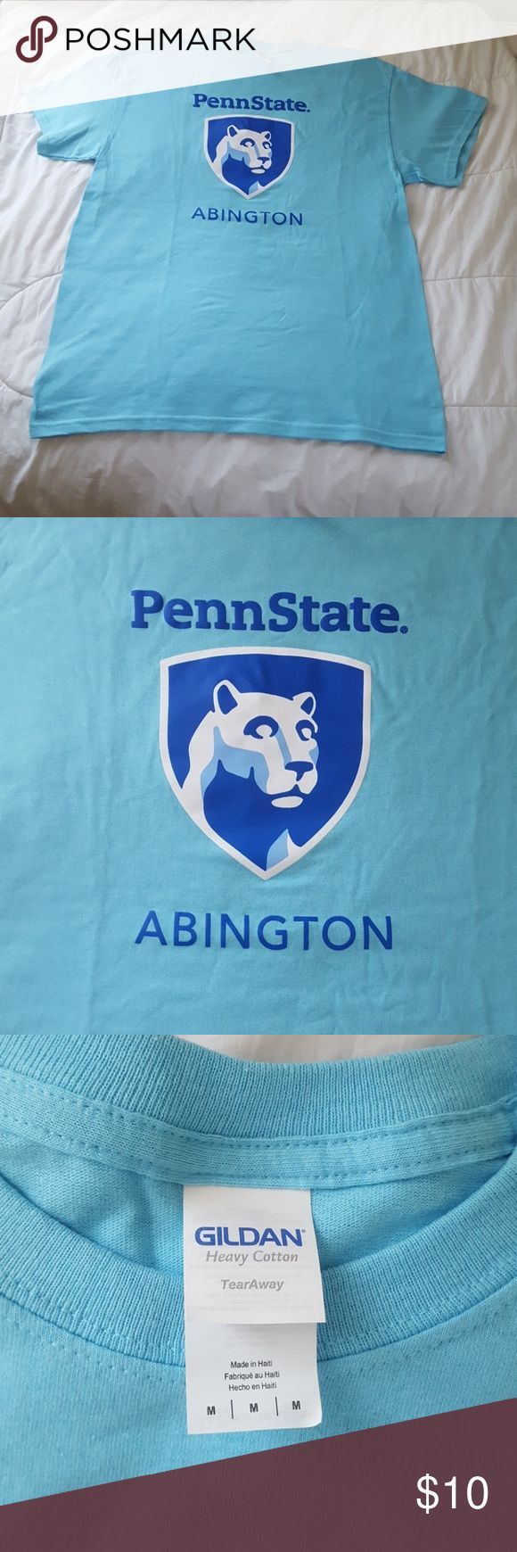 Penn State Abington Medium Cotton Tee-Shirt NWOT Beautiful bright blue oversized cotton tee-shirt in a size medium. Received at new student orientation at Penn State University- Abington Campus. Never worn, due to my preference in a smaller fit. Gildan heavy cotton, 100% cotton. Gildan Tops Tees - Short Sleeve