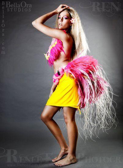 Tahitian costume bright pink/yellow